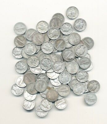 Lot Of (100) Mercury 90% Silver Dimes - Free Shipping