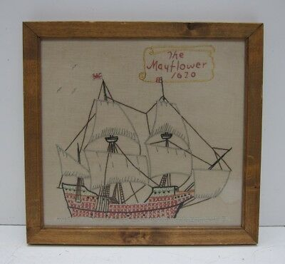 """Vintage 1970s """"The Mayflower 1620"""" Hand Embroidered Cross Stitch Canvas"""