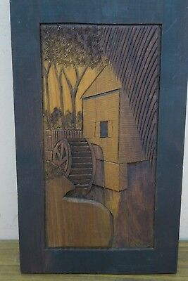 """Vintage Carved Wood Picture Wall Art """" The Dexter Mill """" Signed Somers Cape Cod"""