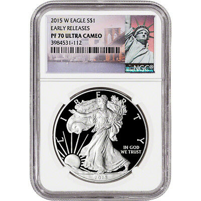 2015-W American Silver Eagle Proof - NGC PF70 UCAM Early Releases New York Label