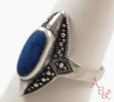 Sterling Silver Vintage 925 Ball Dot Solitaire Lapis Ring Sz 5.75 (3.6g) 724371