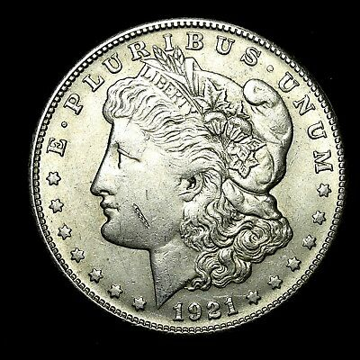 1921 S ~**ABOUT UNCIRCULATED AU**~ Silver Morgan Dollar Rare US Old Coin! #V20