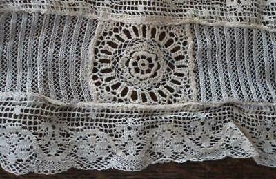 Antique Embroidered Lace Lappet Trim Collar Needle Run Flowers Victorian