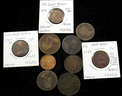 Lot of 10 Historic English Copper Coins (1737-1899)- Farthings 1/2 Penny & Penny
