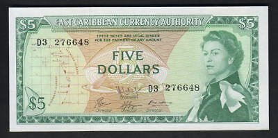 EAST CARIBBEAN STATES P-14h. (1965) 5 Dollars.. Sign.9   UNC