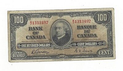 *1937*Canadian $100 Note BC-27b, Gor/Tow SN# B/J 1313492