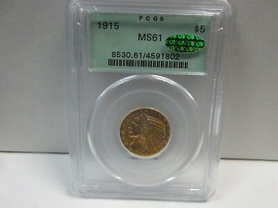 1915 $5 Gold Indian Half Eagle Five Dollar PCGS (old holder) MS61 & CAC!