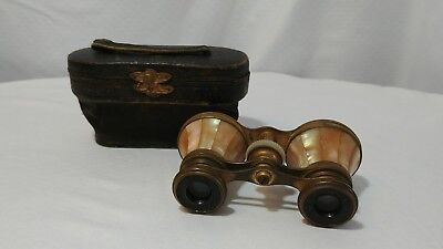 Antique Mother of Pearl IRIS PARIS Opera Binoculars with Case