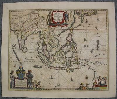 East Indies Southeastern Asia India Sri Lanka 1647 Blaeu Unusual Antique Map