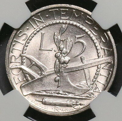 1936 NGC MS 64 SAN MARINO Silver 5 lire 100K Coins Minted (16092802C)