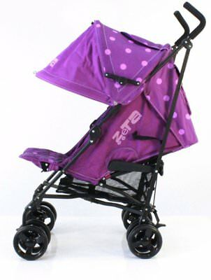 Limited Edition ZeTa Vooom - Plum Dots Stroller With Free Rain Cover