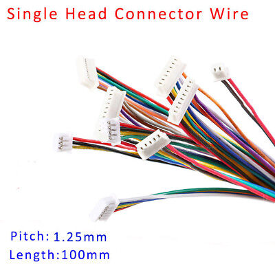 SH1.25 2/3/4/5/6/7/8/9/10P Single Head Connector Wire 100mm Cable Pitch 1.25mm