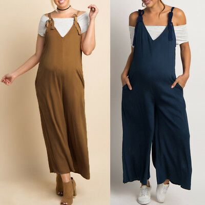 Maternity Pregnant Women Playsuits Harem Wide Leg Loose Long Trousers Rompers
