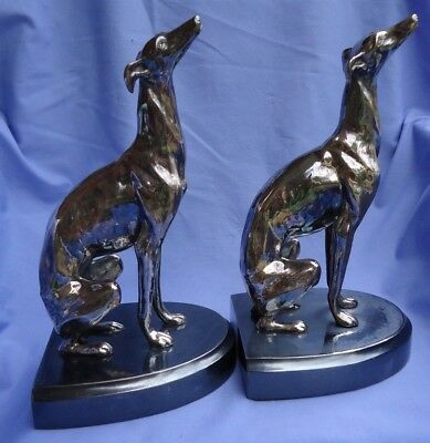 1920 silver WHIPPET ITALIAN GREYHOUND Jennings Brothers dog bookends 10""