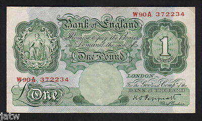 GREAT BRITAIN P-369a. (1948-49) One Pound - Peppiatt..  Green, with Thread.. VF