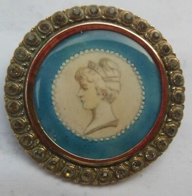 Antique 1 & 3/4 French Blue Etched Queen Portrait Glass Rhinestone Button
