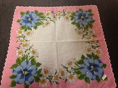 Unused Floral Design Scalloped Edge Hankie