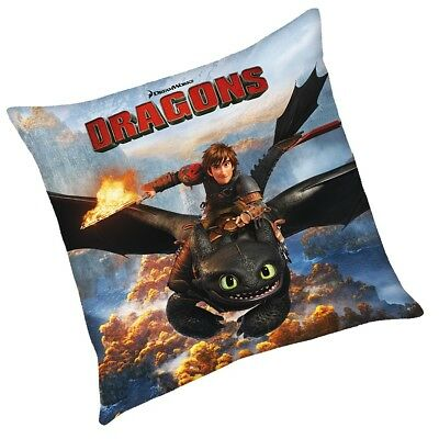 Hicks & Ohnezahn | Kinder Kissen 40 x 40 cm | DreamWorks Dragons | Dekokissen