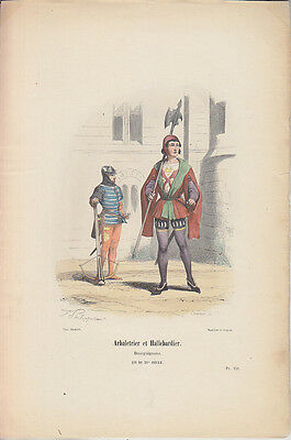 C1 Histoire Armee GRAVURE COULEURS PHILIPPOTEAUX 1850 Arbaletrier Hallebardier
