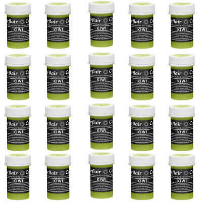 30 x Sugarflair KIWI Green Pastel Edible Food Colouring Paste for Cake Icing 25g