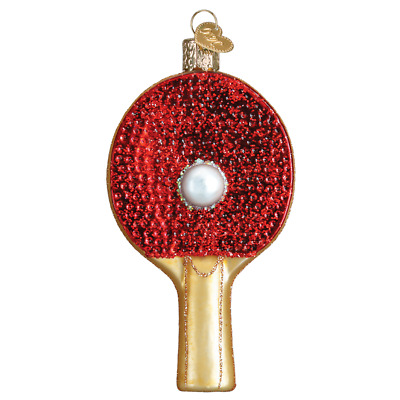 """""""Ping Pong Paddle"""" (44105)X Old World Christmas Glass Ornament w/OWC Box"""