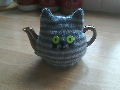 Hand Knitted Tea Cosy For Small Teapot Tabby Cat 300 Picclick Uk