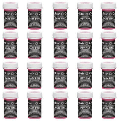 50 x Sugarflair BABY PINK Pastel Edible Food Colouring Paste for Cake Icing 25g