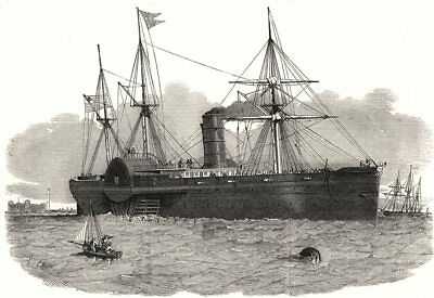 """United States Mail steam-ship """" Atlantic """" entering the Mersey. Liverpool, 1850"""