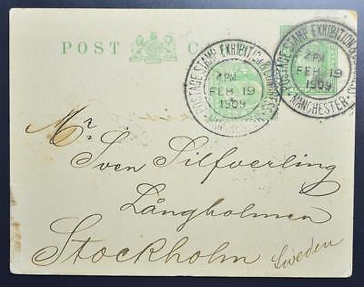 ENGLAND 1909 Rare MANCHESTER Stamp Exhibition/Congress Pmk on PSC to SWEDEN LooK