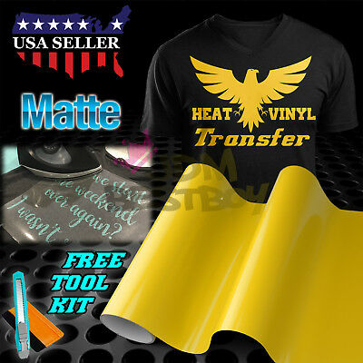 "Matte Yellow Heat Transfer Vinyl HTV T-Shirt 20"" Wide Roll Iron On / Heat Press"