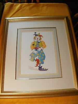 A. Churchill Clown Watercolor Painting