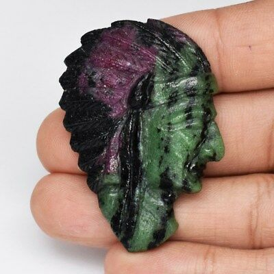 Rare! 97.28ct Indian Red Carving Natural Unheated Tri-Color Ruby With Zoisite