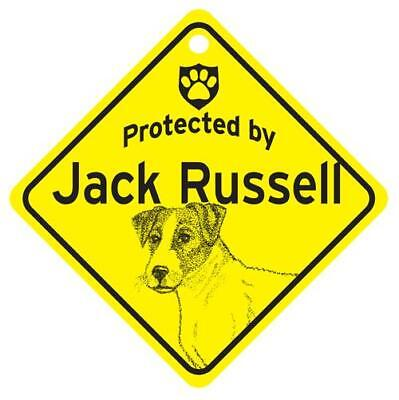 Protected by Jack Russell Dog Window Sign Made in USA