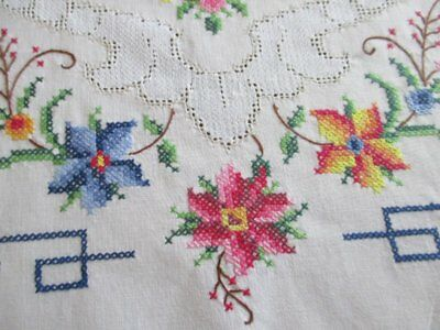 """VINTAGE TABLE RUNNER HAND EMBROIDERED TINY CROSS STITCH - 16"""" x 42"""""""