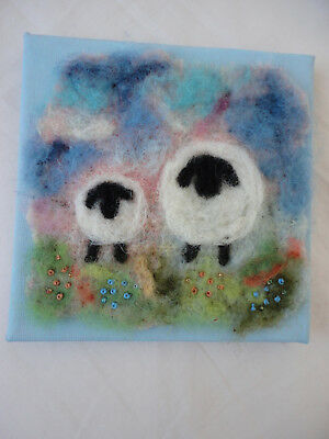 Handmade Needle Felted Wool Picture - 2 Sheep - Blue Canvas