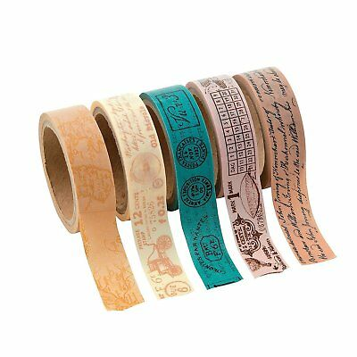 Travel Washi Tape Set (5 Rolls Per Unit) Each Roll Includes 16 Ft.