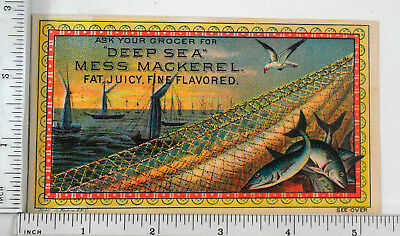 "Victorian Trade Card -Thurbers' ""Deep Sea"" Mess Mackerel.- 001"