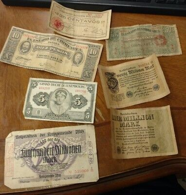 Lot of (7) Mixed Pieces of World Foreign Antique Currency