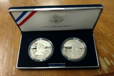 2000 Leif Ericsson (2) Coin Silver Dollar Proof Set. Missing box and papers.