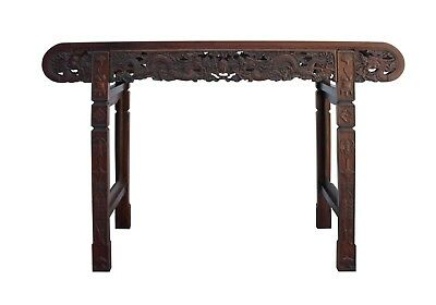 Chinese Brown Huali Rosewood Scroll Dragons Altar Table cs3982