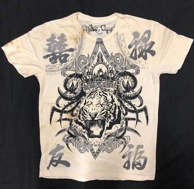 NEW KEY CLOSET Graphic Beige  T-Shirt Tattoo Men's Crew neck Foil Tiger *S-2XL