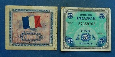 France 5, 10 Francs, 1944. Allied occupation. aVF. Short snorters