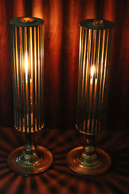 """Vintage Pair 15"""" Heavy Brass Candle Stick Holders *Cast Beautiful Rays Of Light"""