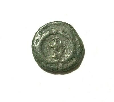 Ancient Roman, 400-300 AD. Bronze coin, cross
