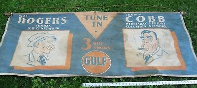 """1930s Gulf Oil radio advertising BANNER Will Rogers Irvin Cobb canvas 67"""" x 29"""""""