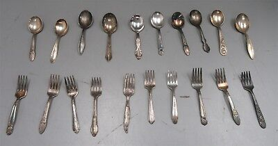 Silverplate Baby Feeding Spoons & Forks Vintage/ Antique Lot X20