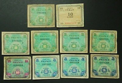France 2, 5, 10 Francs, 1944. Allied occupation. Italy 10 Lire 1943. Circulated