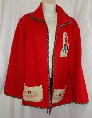VINTAGE MEXICAN RED open front wool blend JACKET SOMBRERO & COWBOY