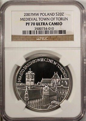 Poland 20 Zlotych 2007 NGC PF 70 Ultra Cameo UNC Silver Medieval Town  Of Torun