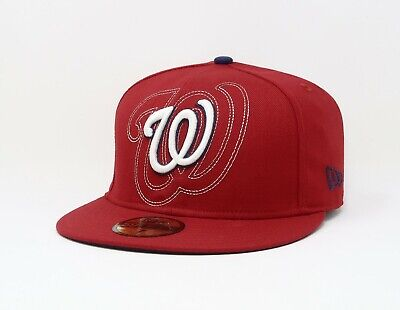 New Era 59Fifty Hat MLB Washington Nationals Mens Red White 5950 Fitted Cap  Wool 363d35289759